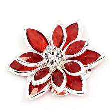 10PCs Flower Embellishment Findings Rhinestone Flatback Red 23mmx24mm