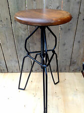 Industrial bar stool wooden top harpin vintage chic kitchen side table seat f-12