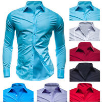 New Style Men's Cotton Formal  Luxury Casual Slim Fit Long Sleeve  Shirts Tops