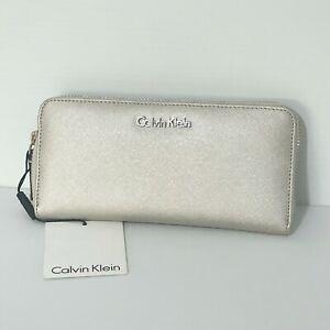 Genuine Calvin Klein Womens Wallet Zip Around Silver Leather