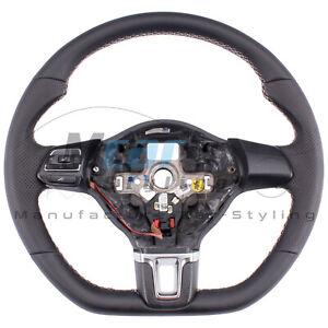 Volante Tapizado con Cuero Para VW Golf 6Gti Adintelado Almohadilla de Pulgar