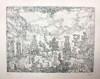 Paul Eliasberg (1907-1984) signierte Radierung Griechische Landschaft mit Ruinen