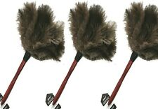 "3 x Real Feather Duster Cleaning Tool Wood Handle Ostrich Feathers 14-15"" long"