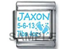BABY BOY NAME BIRTHDATE CUSTOM PERSONALIZE 9MM ITALIAN CHARM LINK SON BIRTH date