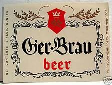 Vintage Ger Brau Beer Bottle Label Shenandoah Pa