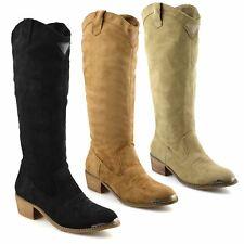 Ladies Womens New Suede Mid Calf Block Heel Riding Cowboy Biker Boots Shoes Size