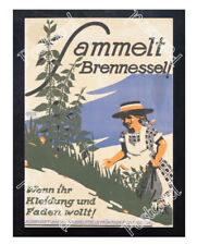 Historic WWI German Recrutiment Poster Collect nettles! Postcard