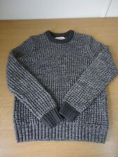 Mens River Island Grey Chunky Knitted Round Neck Winter Jumper Size XS (BF)