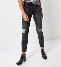 RIVER ISLAND faded grey star print ashley boyfriend crop jeans size 10 Reg