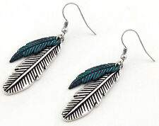 Ladies Story Silver Patina-look Turquoise Double Feather Dangle Earrings
