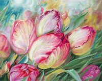Cross Stitch Embroidery Kit by Sdelay Svoimy Rukamy Pink Tulips Flowers