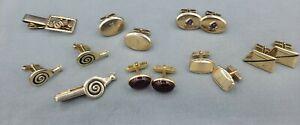 Vintage estate signed ANSON cufflinks ,one snail set , one car tie bar clip