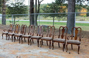 Fabulous DREXEL HERITAGE Set 8 Mahogany Queen Anne Dining Chairs Best on eBay!!!