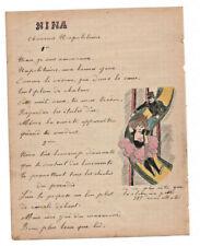 1907 military soldier manuscript lyrics NINA napolitean song 2 sexy drawings
