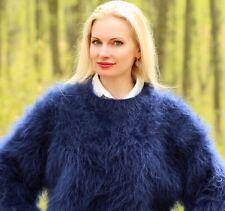 Blue hand knitted mohair sweater fuzzy crewneck soft fluffy jumper SUPERTANYA
