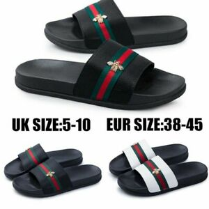 Men's Women's New Flat Striped Slippers Summer Couple Slippers Sandals