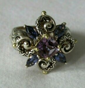 Barbara Bixby Sterling Silver/18K Gold Shades of Purple Ring Size 8