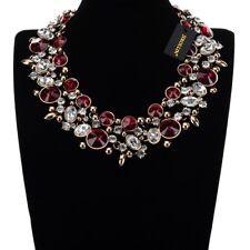 Fashion Gold Chain Red White Crystal Glass Chunky Choker Statement Bib Necklace