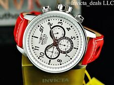 Invicta Men 48mm S1 Rally GPX Quartz Chronograph Genunie Red Leather Strap Watch
