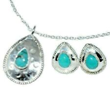 Sterling Silver SET Natural Turquoise Necklace Earrings Blue Gemstones 925 Chain