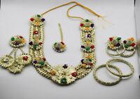 New Indian Pakistani Gold Gota Fabric Bridal Mehndi Mayun Henna Set Jewellery UK
