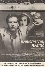 17/9/88PN30 ADVERT: HARRISON FORD IN FRANTIC A ROMAN POLANSKI FILM 7X5