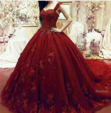 Plus Size Burgundy Ball Gown Wedding Dresses Lace Quinceanera Prom Party dress