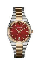 Bulova Women's Quartz Red Dial Calendar Gold Tone Accent Band 34mm Watch 98M119
