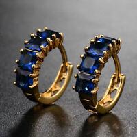 0.50 Ct Blue Sapphire Women's Beautiful Hoop Earrings 14k White Gold Finish