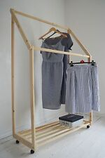 Handmade, Natural Pine Wood, Clothes Rail with Shelf and WHEELS!