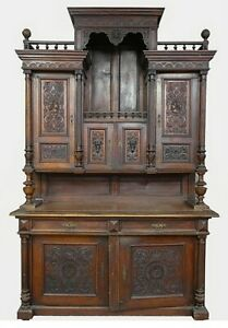 LARGE ANTIQUE CONTINENTAL CARVED TWO-PART BUFFET
