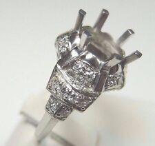 Antique Vintage Ring Setting Mounting Platinum Hold 8.5-10MM Ring Size 6 UK-L1/2