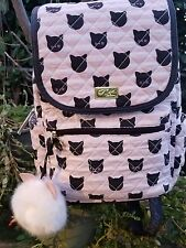 Betsey Johnson LBGRAD Pink & Black Cat Kitten Quilted Backpack,NWT..Retail:$88