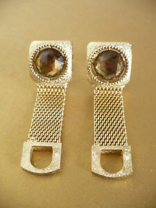 Vintage Swank Gold Tone Mesh Cuff Links with Topaz Color Crystal Shape Setting