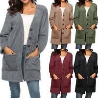 Plus Size Women's Long Sleeve Fluffy Cardigan Sweater Coat Jacket Casual Outwear
