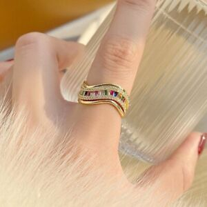 Women 14K Gold Colorful Zircon Adjustable Ring Geometric Square Party Jewelry