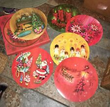 Vintage Box of Festive All Around circular Christmas Cards Assortment in Box