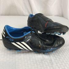 Adidas Mens F10 Black Blue 3 Stripe Us Size 12 Soccer Shoes Uk 11.5 Spikes