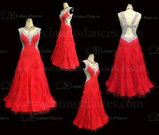 Feather Ballroom / Standard Waltz Dance Dress With High Quality Rhinestone ST173