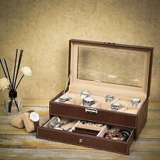 12 Watch Jewelry Leather Box Case Display Organizer Storage Tray for Men& Women