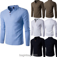 Men's Casual Long Sleeve Cotton Tee V-neck Solid Top Undershirt Summer T-Shirts