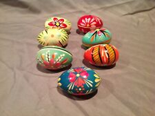 7 Polish Easter Eggs Hand Painted Wood Pysaky Colorful