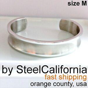 Mens cuff bracelet bangle, grooved bracelet, silver half bracelet, cuff size M