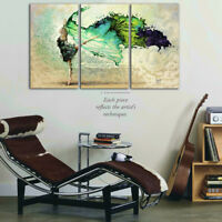 Stretched Framed canvas prints Split print green dancing girl art home decor