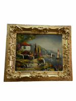 Oil on canva summer landscape painting, framed antique frame gold gilded