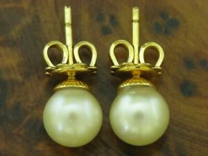 14kt 585 Yellow Gold Ear Studs With Akoya-Pearls Decorations/Earrings/2,5g