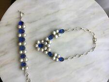Huge natural pearls and crystal silver plated statement necklace bracelet set