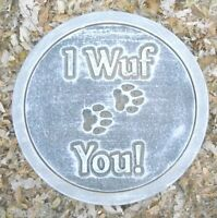 I wuf you dog stepping stone abs plastic mold concrete plaster mould
