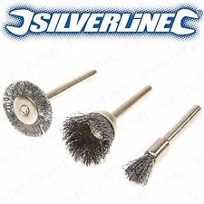 3Pc METAL POLISHING STEEL WIRE BRUSH SET Dremel Rotary Tool Polish Clean Wheel