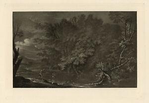 "SALVATOR ROSA mezzotint ""Mercury and the Woodman"""